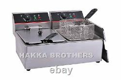 Hakka 7500W Electric Countertop Deep Fryer Dual Tank Commercial Restaurant 2x8L