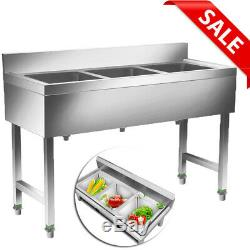 Heavy Duty Three 3 Compartment Stainless Steel Commercial Utility Sink Kitchen