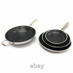 HexClad Commercial 7 Piece Cookware Pan Set, Hybrid Stainless Steel/Nonstick Tri