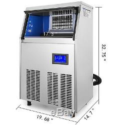 Ice Cube Maker Machine 50Kg/110Lbs Commercial Automatic Stainless Steel 110lbs