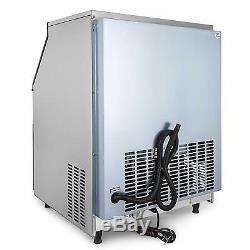 Ice Maker Commercial Ice Cube Machine 130KG 24H Stainless Steel with 99lbs Storage