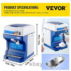Ice Shaver Crusher Snow Cone Maker Machine Food Grade Commercial Stainless Steel