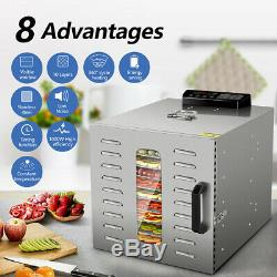 KWASYO Commercial 10 Tray Stainless Steel Food Dehydrator 55L Fruit Meat Jerky