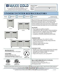 Maxx Cold 61 Wide Two 2 Double Door Undercounter Commercial Refrigerator Cooler