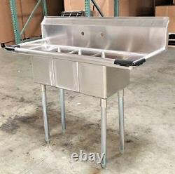 NEW 50 Stainless Steel Sink 3 Compartment Commercial Kitchen Bar Restaurant NSF