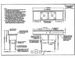 NEW 72 2 Compartment NSF Stainless Steel Commercial Sink with Drainboards