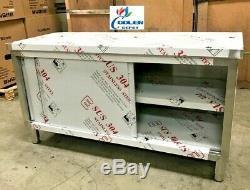 NEW Commercial Stainless Steel Work Prep Table Cabinet 48 x 24 Dual Slide Door