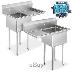 NSF Stainless Steel 18 Single Bowl Commercial Kitchen Sink with Drainboard