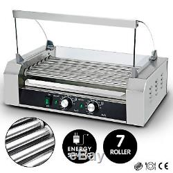 New Commercial 18 Hot Dog 7 Roller Grill Stainless Steel Cooker Machine withCover