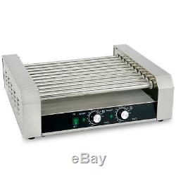 New Commercial 30 Hot Dog 11 Roller Grill Stainless Steel Cooker Machine withCover