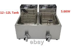 New Hot Sale Double Tank 24L Electric Commercial Fryer 5.6KW With Lid/Drain Taps