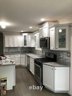 New White Interlocking Backsplash Glass Tile Iridescent Kitchen Bath Wall Deco