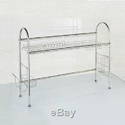 Over The Sink 2-Tier Stainless Steel Dish Rack Holder Commercial Storage Drainer