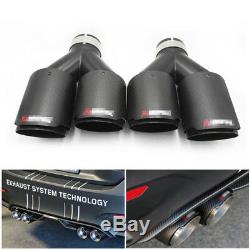 Pair Akrapovic Real Carbon Fiber Exhaust Tip Dual Pipe ID2.5 63mmOut3.589mm