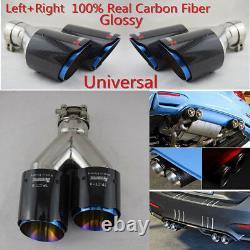 Pair Universal Real Carbon Fiber Dual Exhaust Pipe Car Tail Muffler Tip 63-89mm