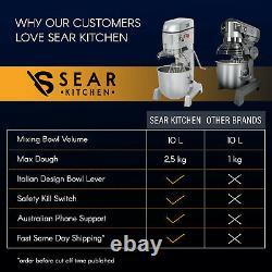 Planetary Mixer 10 Litre Commercial Stand Food Dough Pizza Bread 3 Agitators
