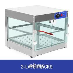 Samger 2-Tier Commercial Countertop Food Pizza Warmer Display Cabinet Case 750W