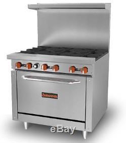 Sierra 36 SR-6-36 Stainless Steel 4-Burner Commercial Gas Range and Oven Combo
