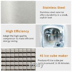 Smad Commercial Ice Maker Stainless Steel 100lbs Ice Cube Machine Undercounter