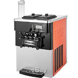Soft Ice Cream Machine Frozen Yogurt Machine 3 Flavors 2200W 20-28L/H Commercial