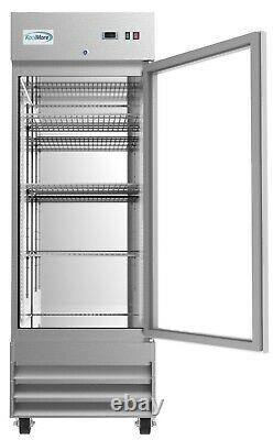 Stainless Steel 1 Glass Door Commercial Reach In Refrigerator Cooler 23 cu. Ft