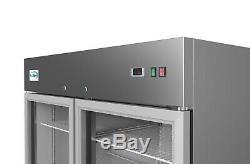 Stainless Steel 2 Glass Door Commercial Reach In Refrigerator Cooler 47 cu. Ft