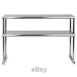 Stainless Steel Commercial Kitchen Prep Table with Double Overshelf- 30 x 48