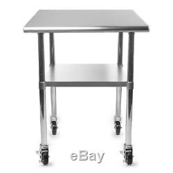 Stainless Steel Commercial Kitchen Work Food Prep Table with 4 Casters 24 x 36