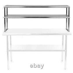 Stainless Steel Commercial Wide Double Overshelf 12 x 60 for Prep Table