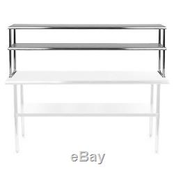 Stainless Steel Commercial Wide Double Overshelf 12 x 72 for Prep Table