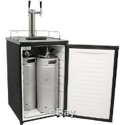 Stainless Steel Dual-Tap Home Beer Kegerator, Full Size Commercial Brew Fridge