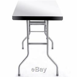 Stainless Steel Folding Work Table 48 L x 24 W 484lbs Capacity Commercial Home