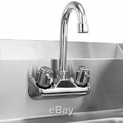Stainless Steel Hand Washing Sink NSF Commercial with Faucet and Side Splashes