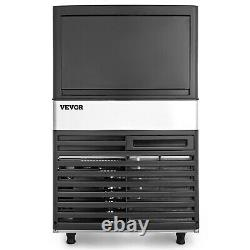 VEVOR 132Lbs Commercial Ice Maker Undercounter Ice Cube Machine Stainless Steel