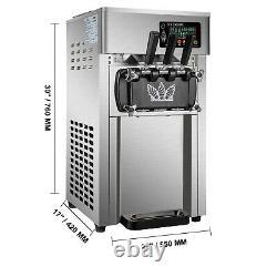 VEVOR 18L/H Countertop Commercial Soft Serve Ice Cream Maker 3 Flavors 1200W