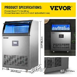 VEVOR 265LBS Commercial Ice Maker Stainless Steel Ice Cube Making Machine