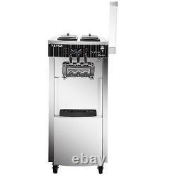 VEVOR 3-Flavor Commercial Soft Serve Ice Cream Maker 20-28L/H Stainless Steel