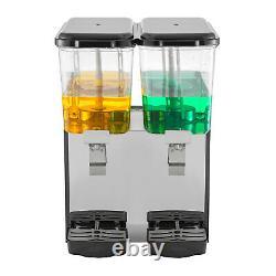 VEVOR Commercial Juice Dispenser 9.5 Gallon Cold Beverage Ice Drink 2 Tanks 36L