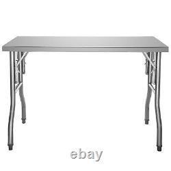 VEVOR Commercial Stainless Steel Folding Work Prep Tables Open Kitchen 48X24