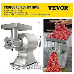 VEVOR Electric Meat Grinder Commercial 550lbs/h 1100W Sausage Stuffer Filler