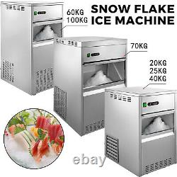 VEVOR Snowflake Ice Maker Commercial Ice Maker Machine Stainless Steel Crusher